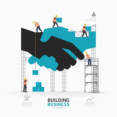 40686845 - infographic business handshake shape template design.building to success concept vector illustration / graphic or web design layout.